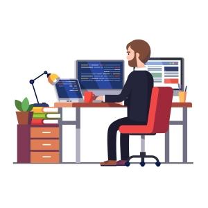 Professional programmer engineer writing code
